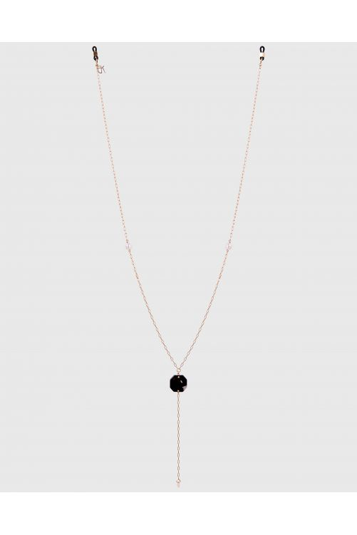 Jewel chain in metal, pearls and acetate