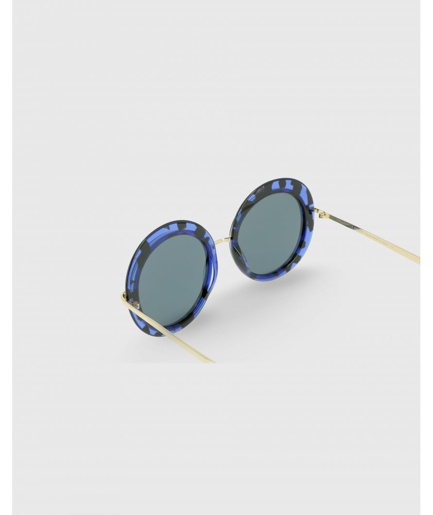 Round acetate and titanium sunglasses