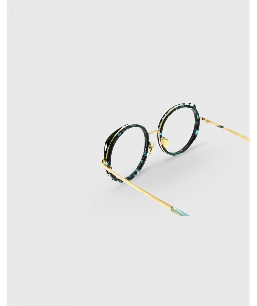 Round sunglasses in acetate and titanium